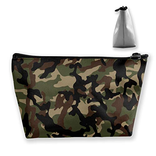 Camouflage Papier Peint Sac Cosmétique avec Fermeture Éclair, Trousse de Toilette/Voyage pour Brosses Bijoux