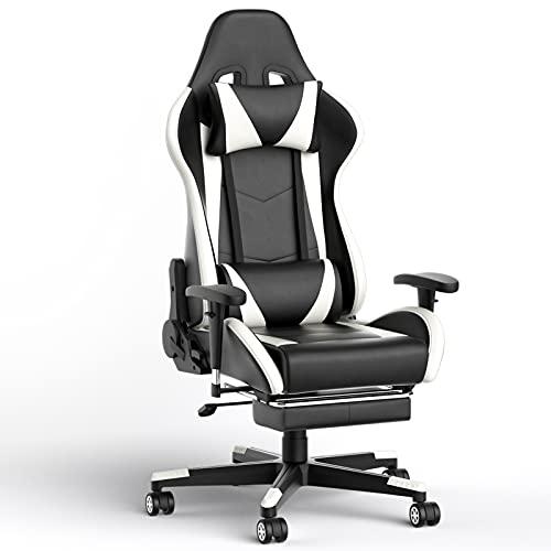 Phoetya Gaming Stuh, Bürostuhl Gamer Ergonomischer Schreibtischstuhl PC-Stuhl mit Fußstütze, Höhenverstellbare Computerstuhl, Kopfstütze und Lendenkissen, PU-Leder, 150 kg Belastbar(Schwarz-Weiß)