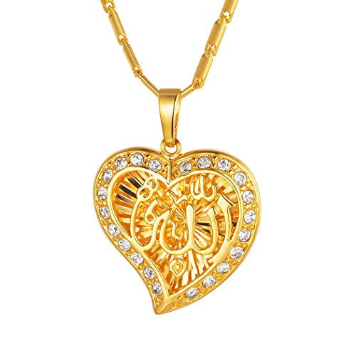 Suplight Allah Necklace for Women Gold Islamic Religious Jewelry Cubic Zirconia Muslim Arabic Heart Shape Allah Pendant Gifts for Her