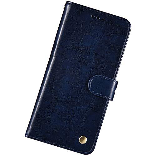 Urhause Kompatibel mit Samsung Galaxy S4 Mini,Dünne Ölwachs Prägen Ledertasche Schutzhülle mit Kartenfach Ständer Bumper Wallet Case Flip Schutzhülle Magnetverschluß Lanyard Handyhülle,Dunkelblau