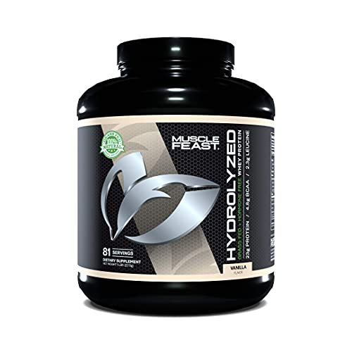 Muscle Feast Grass Fed Hydrolyzed Whey Protein Powder   All Natural, Hormone Free, Fast Absorbing, Easy Digesting, 100% Pure   Gluten Free   23g Protein, 114 Calories   Vanilla 5lb   81 Servings