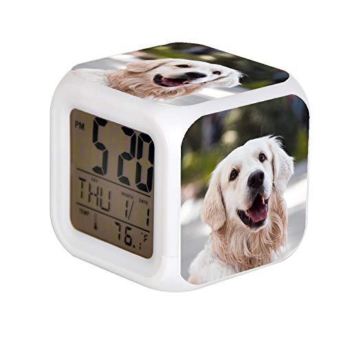 7 Color LED Change Digital Glowing Alarm Clock Night Light for Bedroom Child Digital Alarm Clock Electronic Gadgets for Children Gift Adult Golden Retriever Close-up Photography