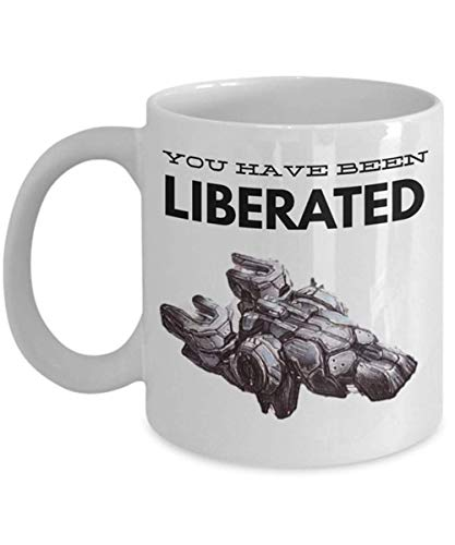 Starcraft 2 Tassen 'Terranische Tasse - Sie wurden befreit - Befreier-Tasse' Einzigartige Gaming-Tasse für Starcraft 2-Fans, 11 Unzen Keramik-KaffeetasseTeetasse, Hochglanz