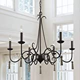 LALUZ Rustic French Country Chandelier, Large Farmhouse Light Fixture with Wood Drops for Dining & Living Rooms, Bedrooms and Foyer