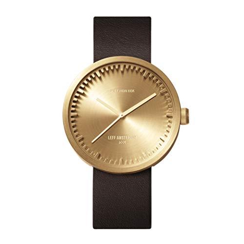 LEFF Amsterdam klok met Miyota uurwerk unisex tube watch D42 goudkleurig/bruin 42 mm