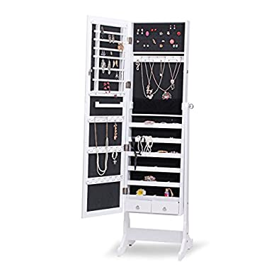 Rowling Mirrored Jewelry Cabinet Armoire with Stand MG019 (White)