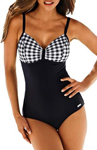 Socluer Badeanzüge Bauchweg Monokinis Bandeau Rückenfrei Figurformende Bademode Swimsuit für Damen Einteiler Badeanzug(S, Z-Schwarz)
