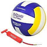 GoSports Indoor Competition Volleyball - Made from Synthetic Leather - Includes Ball Pump