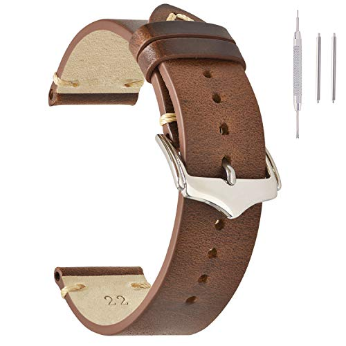 Leather Watch Bands 20mm for Men EACHE Vintage Watch Straps Light Brown for Women Oil Wax Leather Replacement Watchband
