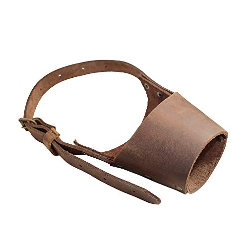 Hide & Drink, Leather Dog Muzzle Guard, Secure, Prevents Biting Chewing, Pitbull German Shephard & Any Breeds, Small Medium Large, Handmade Includes 101 Year Warranty :: Bourbon Brown (Large)