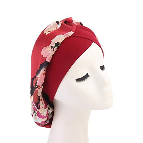 Lurrose bonnet de cheveux en soie bonnet de nuit bande large sleepturban head cover bonnet de chimio imprimé pour femme (rouge)