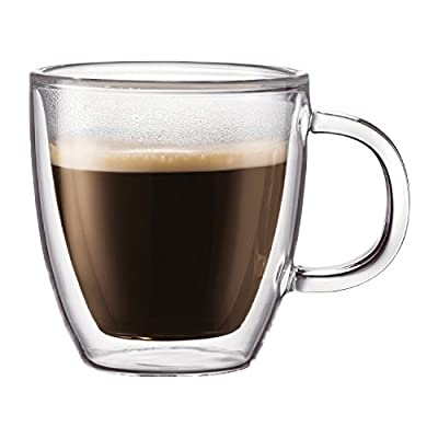 Coffee Mug, Double Wall Insulated Glass Cup 12 Oz Heat-resistant for Tea Coffee Latte Espresso Iced Tea, Set of 1 (Round)
