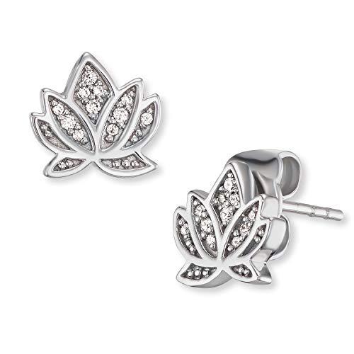 Engelsrufer - Lotusblüte Silber Ohrringe für Damen, rhodinierte Lotus Blume Ohrstecker aus echt 925 Sterlingsilber, Ohrschmuck mit weißen Zirkonia Steinen für Frauen