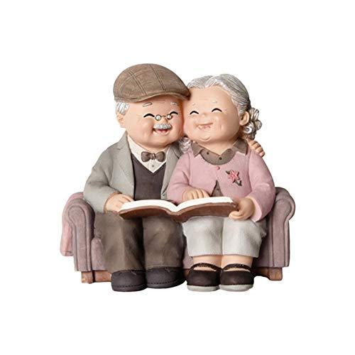 Cerolopy Love Lasts Figur aus Kunstharz, für Ältere Paare, Dekoration für ältere Menschen, Heimdekoration, Schlafzimmer, Wohnzimmer (siehe Foto auf dem Sofa).