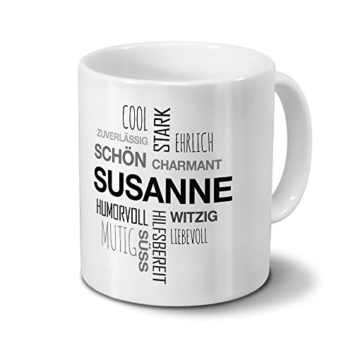 printplanet Tasse mit Namen Susanne Positive Eigenschaften Tagcloud - Schwarz - Namenstasse, Kaffeebecher, Mug, Becher, Kaffeetasse