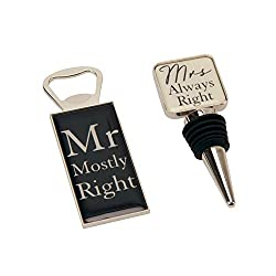 Mr Mostly Right & Mrs Always Right Bottle Opener & Bottle Stopper