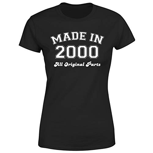 Made in 2000 All Original Parts T-Shirt 21st Birthday Womens Gift Ideas Black 6-8