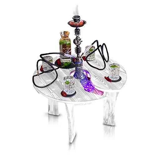 Shisha Tisch mit Loch | Umfallschutz passend für Jede Wasserpfeife Beistelltisch | Vitrine Schieferplatten Zubehör Getränke Snacks | Schlauch Ablage Kohle Tabak | Couchtisch | Holz Orient Hookah Bar