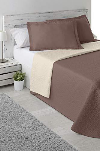 Cabello Textil Hogar - Colcha Bouti Bi-Color de Microfibra Transpirable con Funda de cojín Mod. Color Mix (Marrón/Beige, Cama de 150 cm (250_x_265 cm))