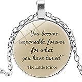 Collier avec pendentif rond en alliage et verre pour enfant avec littérature autour du petit prince