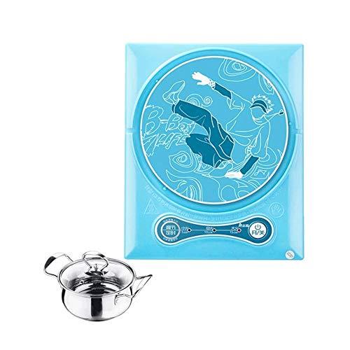 SMX Plaza de Cocina de inducción, Placa Caliente Mini eléctrico, Mueble de Cocina Burner, Hot Pot Hervir té hervido Fideos Café elaborado Cerveza 900W (Color : Blue, Size : Single Furnace+Pot)