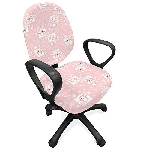 ABAKUHAUS uilen Hoes voor Bureaustoel, Roze Uilen Vogels Bloemen, Decoratieve en Beschermende Hoes van Stretchstof, Pale Pink White