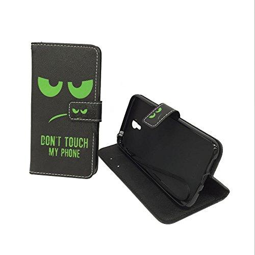 König Design Handyhülle Kompatibel mit Lenovo ZUK Z1 Handytasche Schutzhülle Tasche Flip Hülle mit Kreditkartenfächern - Don't Touch My Phone Grün Schwarz