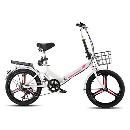 LXJ Leichtes 20-Zoll-Einrad-Faltrad, Neutrales Pendlerfahrrad for Erwachsene Und Jugendliche, 6-Gang-Stoßdämpferrahmen Aus Kohlenstoffhaltigem Stahl