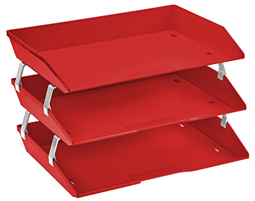 Acrimet Facility 3 Tier Letter Tray Side Load Plastic Desktop File Organizer (Solid Red Color)