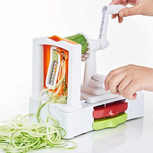 Slicer Von Spiralizer Von Gemüse Mit 3 Scharfer Klinge Mit Klinge Spaghetti-Maschine Containern Und Schleif Sauger Für Zucchini Nudeln, Nudeln Usw, Weiss