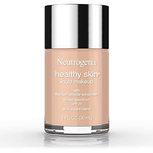 Neutrogena Healthy Skin Liquid Makeup Foundation, Broad Spectrum SPF 20 Sunscreen, Lightweight & Flawless Coverage Foundation with Antioxidant Vitamin E & Feverfew, Natural Tan, 1 fl. oz
