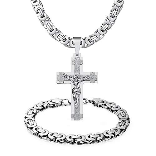 MASARWA Mens Stainless Steel Silver Jesus Cross Pendant Necklace Chain Bracelet Sets Jewellery 60cm,Comes with Velvet Pouch