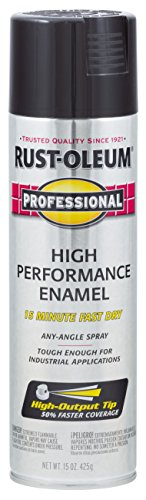 Rust-Oleum 7579838 Professional High Performance Enamel Spray Paint, 15 Oz, Gloss Black, 15 Fl Oz