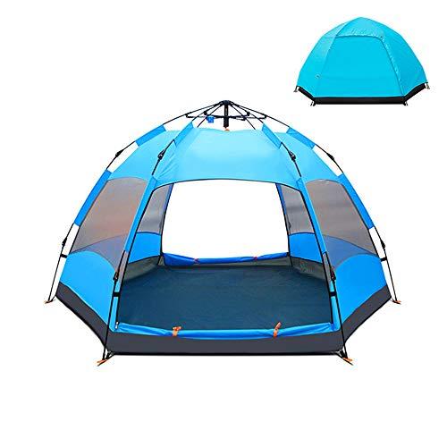 BYDBELT Campingzelt 5-8 Personen Kuppelzelt,Wasserdicht Wurfzelt, leichtes Trekkingzelt,Familienzelt mit Regenfliege Tragetasche 240x240x135cm (Blau)