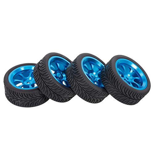 GoolRC 4PCS 65mm Rubber Tyre with Metal Wheel Rims High Grip Rubber Tires Replacement for 1/12 1/14 1/18 Wltoys RC Car 144001 A959 124019 124018