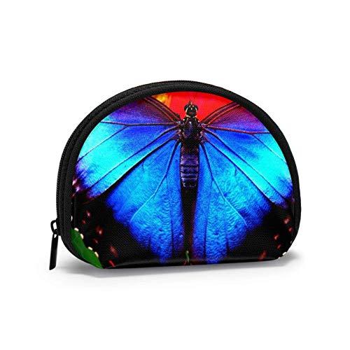 Oxford Cloth Blue Butterfly Close Up Münzgeldbörse Kleine Reißverschlusstasche Brieftasche Wechselbeutel Mini Cosmetic Makeup Bags Organizer Mehrzweckbeutel