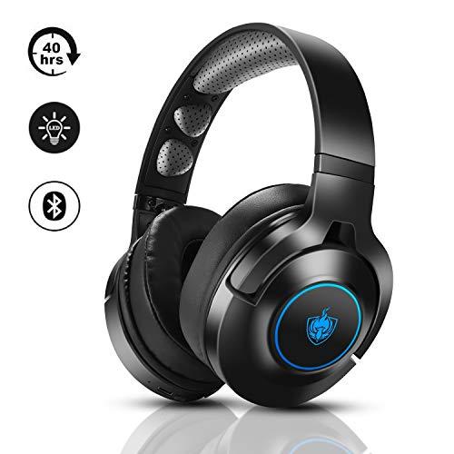 Headset PS4, Gaming Headset für Xbox One, Nintendo Switch, PC, 7.1 Bass Surround Wireless Bluetooth Headset, Kabel Gaming Kopfhörer mit Noise Cancelling Mik, Drehbar Ear Cups, LED Licht - Blu