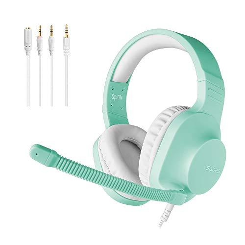 SADES kabelgebundenes Gaming-Headset Spirits, Over-Ear-Stereo-Headset mit Mikrofon und Lautstärkeregelung, für PC, Laptop, PS4, Nintendo Switch (Cyan)