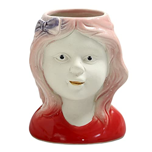 P Prettyia Mini Adornos de Escritorio de contenedor de Plantas suculentas de Maceta de Cabeza de muñeca Linda de cerámica - Niña 1