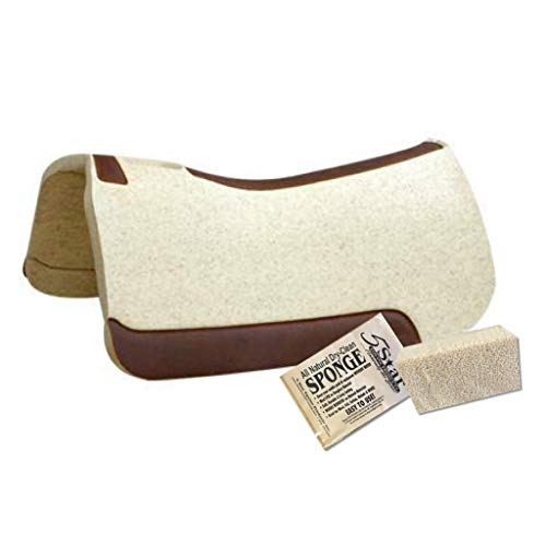 5 Star - 1 1/8' Extra Thick Rancher Western Saddle Pad - The Rancher Performer Full Skirt 32' x 32' This Horse Saddle Pad is Great for Ropers and Ranchers. Free Sponge Saddle Pad Cleaner Included