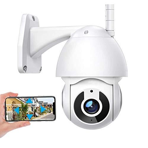 Cámara de vigilancia exteriores Cámara de seguridad WiFi 1080P HD,Cámara IP PTZ CCTV,seguimiento de movimiento,alarma,visión nocturna 30M,voz de 2 canales,IP66 impermeable (Cámara+tarjeta TF de 32G)