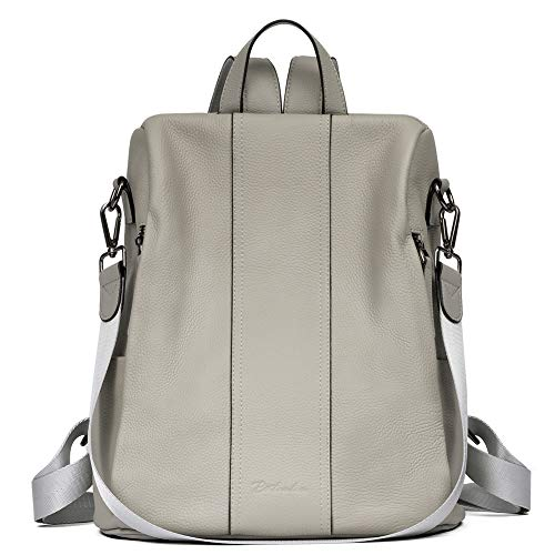 BOSTANTEN Women Leather Backpack Handbag Genuine Soft Leather Anti-Theft Daypack Vintage Casual School Bags Grey
