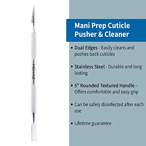 Mehaz Stainles Steel Mani-Prep Cuticle Pusher & Cleaner, 5""