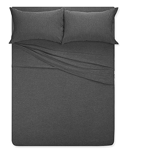 """Jersey-Bed-Sheet-Set-Queen,COSMOPLUS 4 pc Bed Sheets with up to 14"""" Deep Pocket ,Ultra Soft Comfortable,All Season T-Shirt Sheets Bedding,Heather Grey"""