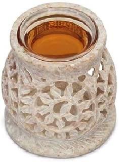 Essential Tealight Oil Diffuser in White Soapstone Aromatherapy Fragrance Vaporizer/ Wax Melt/Tart Warmer