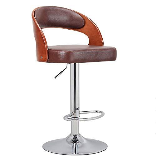 Barstools-BYTGK Barhocker Kuhfell Sitz und Holz Zurück Barhocker Swivel Höhenverstellbare Arbeitsstühle for Heim Zähler Kurklinik Salon J1031 (Color : Brown)