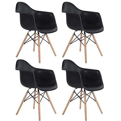 DORAFAIR Juego de 4 sillas de comedor retro con patas de madera de haya maciza, color negro