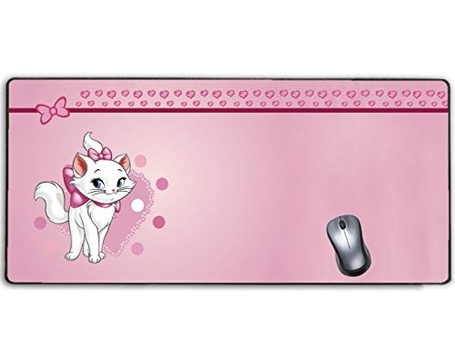 Extended Gaming Mouse Pad Aristocats Marie Cat Pink Heart,Stitched Edge and No-sliped Large Desk Mat, Mousepad for Game Computer Keyboard, PC and Laptop