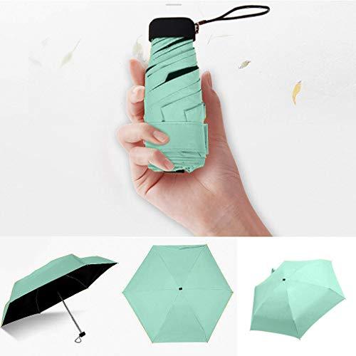 Paraguas Plegable de Aluminio 5 Principito Paraguas Plegable Lluvia Mujeres Paraguas Mujer Sunny Parasol Precioso Paraguas Mini Paraguas de Bolsillo (Color : Green)