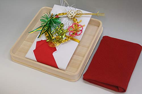 結納金袋(赤白)松竹梅鶴亀・ヘギ台付・正絹ちりめん風呂敷68cm(エンジ)付き